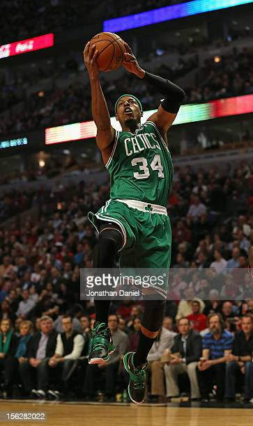 Paul Pierce of the Boston Celtics goes up for a shot against the Chicago Bulls at the United Center on November 12 2012 in Chicago Illinois NOTE TO...