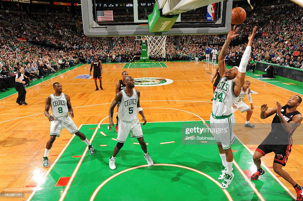 <a gi-track='captionPersonalityLinkClicked' href=/galleries/search?phrase=Paul+Pierce&family=editorial&specificpeople=201562 ng-click='$event.stopPropagation()'>Paul Pierce</a> #34 of the Boston Celtics grabs a rebound against the Miami Heat on January 27, 2013 at the TD Garden in Boston, Massachusetts.