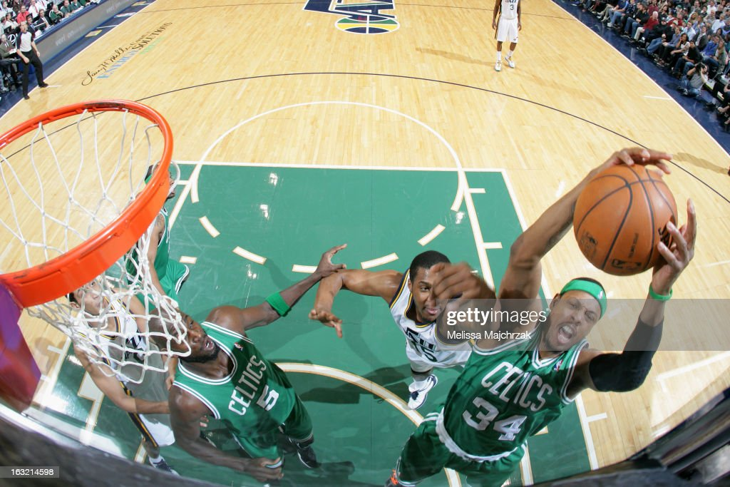 <a gi-track='captionPersonalityLinkClicked' href=/galleries/search?phrase=Paul+Pierce&family=editorial&specificpeople=201562 ng-click='$event.stopPropagation()'>Paul Pierce</a> #34 of the Boston Celtics grabss a rebound against the Utah Jazz at Energy Solutions Arena on February 25, 2013 in Salt Lake City, Utah.