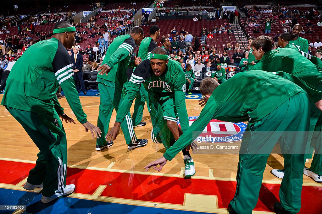 Paul Pierce #34 of the Boston Celtics greets teammates before playing the Philadelphia 76ers during a pre-season game at the Wells Fargo Center on October 15, 2012 in Philadelphia, Pennsylvania.