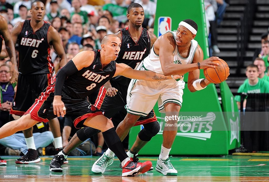 <a gi-track='captionPersonalityLinkClicked' href=/galleries/search?phrase=Paul+Pierce&family=editorial&specificpeople=201562 ng-click='$event.stopPropagation()'>Paul Pierce</a> #34 of the Boston Celtics handles the ball against <a gi-track='captionPersonalityLinkClicked' href=/galleries/search?phrase=Carlos+Arroyo&family=editorial&specificpeople=201991 ng-click='$event.stopPropagation()'>Carlos Arroyo</a> #8 of the Miami Heat in Game One of the Eastern Conference Quarterfinals during the 2010 NBA Playoffs on April 17, 2010 at TD Garden in Boston, Massachusetts. The Celtics won 85-76.
