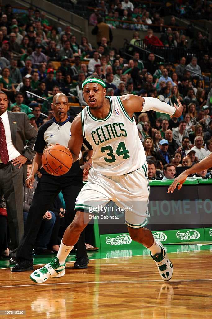 BOSTON, MA - APRIL 7 <a gi-track='captionPersonalityLinkClicked' href=/galleries/search?phrase=Paul+Pierce&family=editorial&specificpeople=201562 ng-click='$event.stopPropagation()'>Paul Pierce</a> #34 of the Boston Celtics handles the ball against the Washington Wizards on April 7, 2013 at the TD Garden in Boston, Massachusetts.