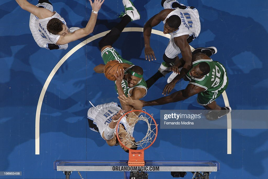 Paul Pierce #34 of the Boston Celtics handles the ball during the game between the Boston Celtics and the Orlando Magic on November 25, 2012 at Amway Center in Orlando, Florida.