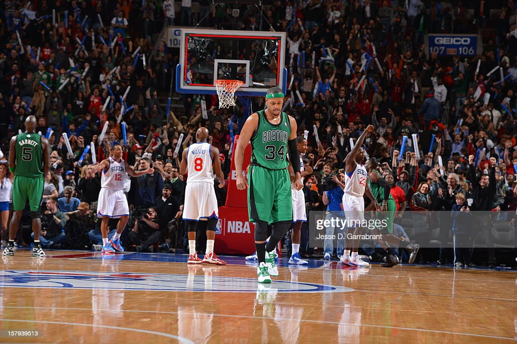 Paul Pierce #34 of the Boston Celtics is dejected as the Celtics fall to the Philadelphia 76ers at the Wells Fargo Center on December 7, 2012 in Philadelphia, Pennsylvania.