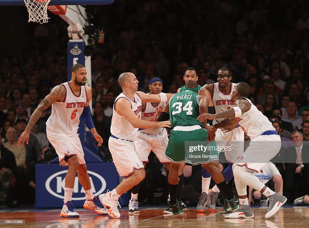 Paul Pierce #34 of the Boston Celtics is surrounded by New York Knicks at Madison Square Garden on January 7, 2013 in New York City.