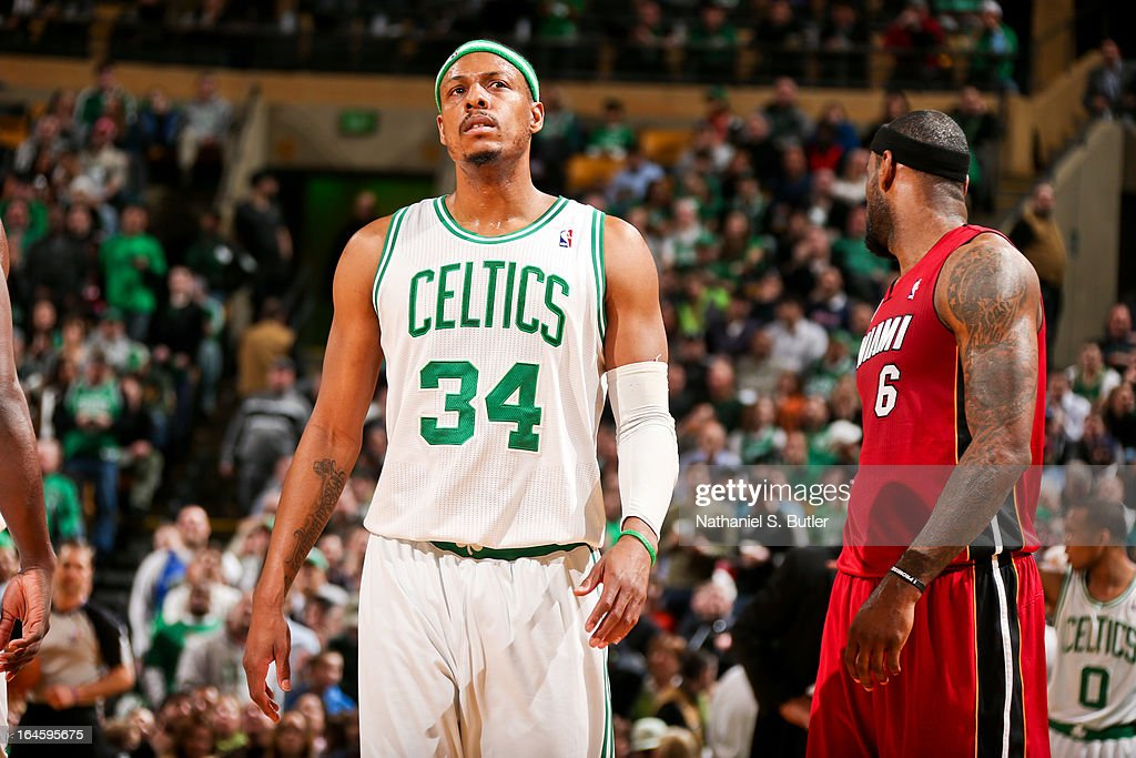 Paul Pierce #34 of the Boston Celtics looks on during a game against the Miami Heat on March 18, 2013 at TD Garden in Boston, Massachusetts.