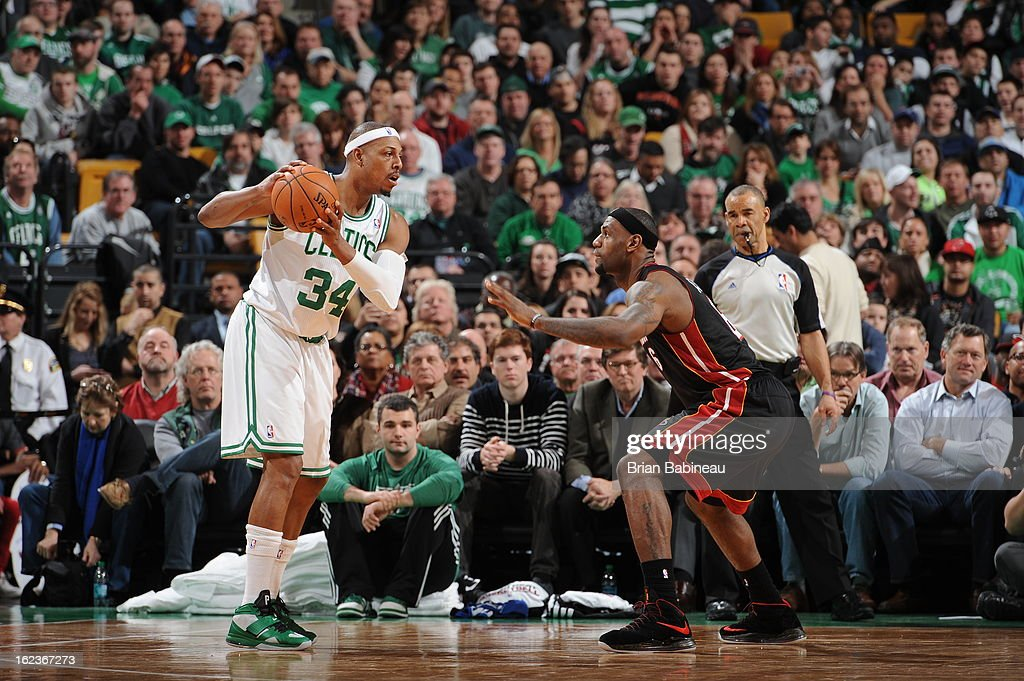 <a gi-track='captionPersonalityLinkClicked' href=/galleries/search?phrase=Paul+Pierce&family=editorial&specificpeople=201562 ng-click='$event.stopPropagation()'>Paul Pierce</a> #34 of the Boston Celtics looks to drive to the basket against the Miami Heat on January 27, 2013 at the TD Garden in Boston, Massachusetts.