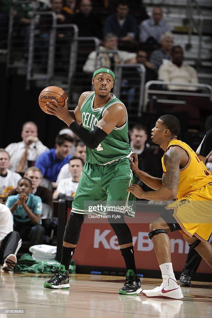 Paul Pierce #34 of the Boston Celtics looks to pass the ball against the Cleveland Cavaliers at The Quicken Loans Arena on January 22, 2013 in Cleveland, Ohio.
