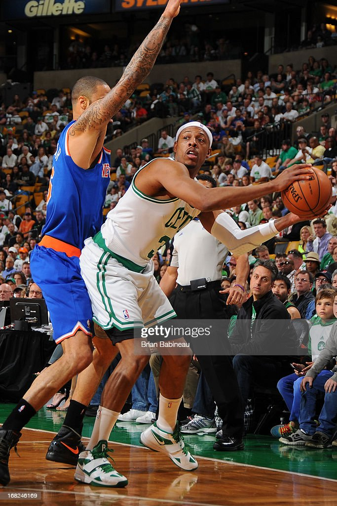 Paul Pierce #34 of the Boston Celtics makes a pass against the New York Knicks during Game Four of the Eastern Conference Quarterfinals on April 28, 2013 at the TD Garden in Boston, Massachusetts.