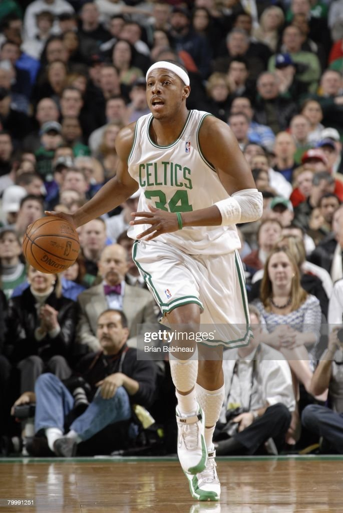 Paul Pierce #34 of the Boston Celtics moves the ball up court during the game against Toronto Raptors at the TD Banknorth Garden on January 23, 2008 in Boston, Massachusetts. The Raptors won 114-112.