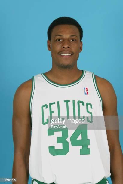 Paul Pierce of the Boston Celtics poses for a portrait during the Celtics Media Day on September 30 2002 at the Fleet Center in Boston Massachusetts...