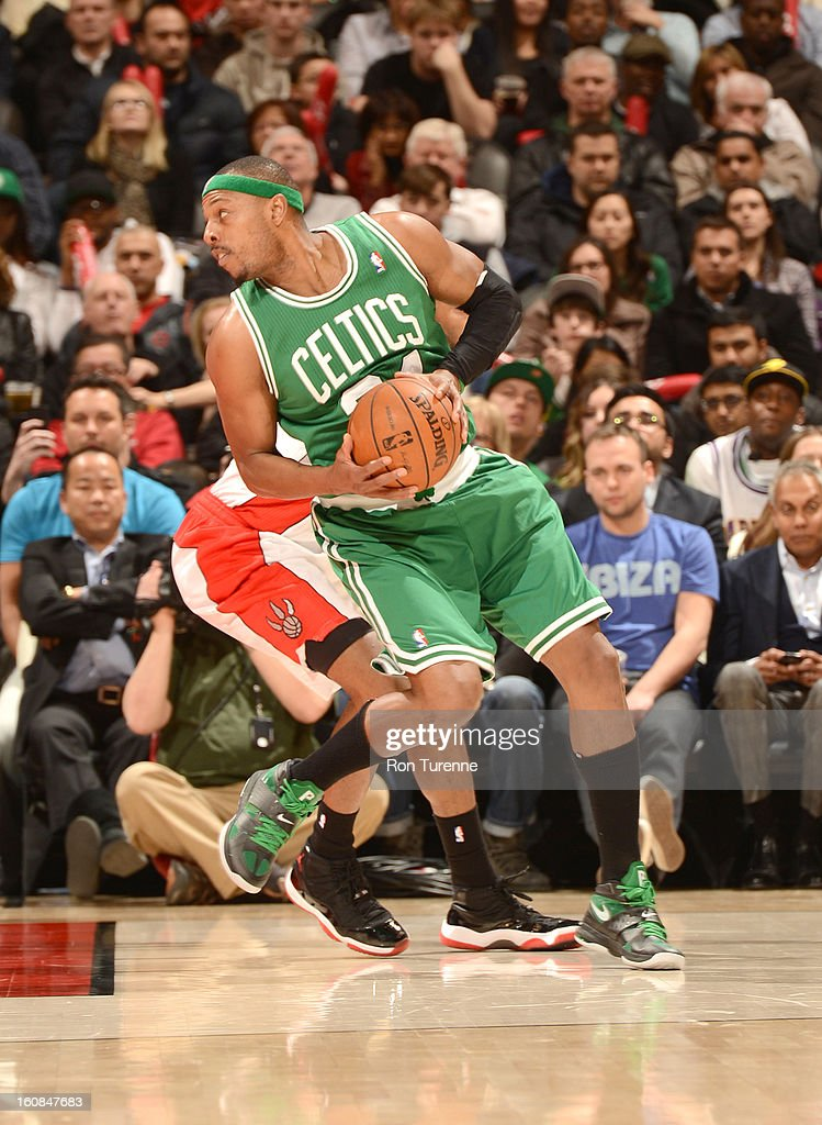 Paul Pierce #34 of the Boston Celtics protects the ball during the game between the the Toronto Raptors and the Boston Celtics on February 6, 2013 at the Air Canada Centre in Toronto, Ontario, Canada.