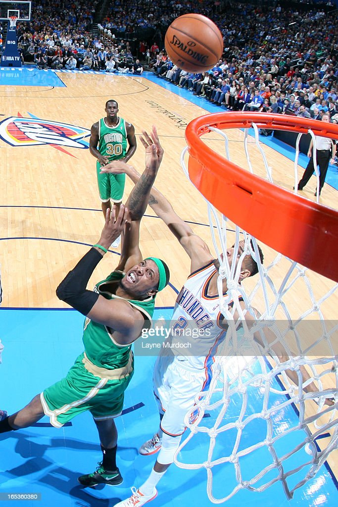 Paul Pierce #34 of the Boston Celtics puts up a shot against the Oklahoma City Thunder on March 10, 2013 at the Chesapeake Energy Arena in Oklahoma City, Oklahoma.