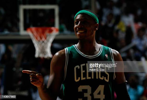 Paul Pierce of the Boston Celtics reacts after a basket against the Atlanta Hawks in Game Two of the Eastern Conference Quarterfinals in the 2012 NBA...