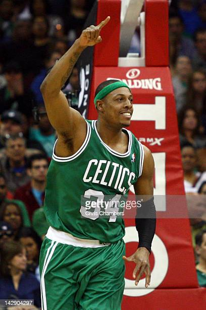 Paul Pierce of the Boston Celtics reacts after he made a 2point basket in the second half against the New Jersey Nets at Prudential Center on April...
