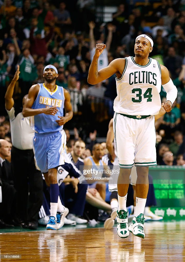 Paul Pierce #34 of the Boston Celtics reacts after making a three-point shot against the Denver Nuggets in the second half during the game on February 10, 2013 at TD Garden in Boston, Massachusetts.