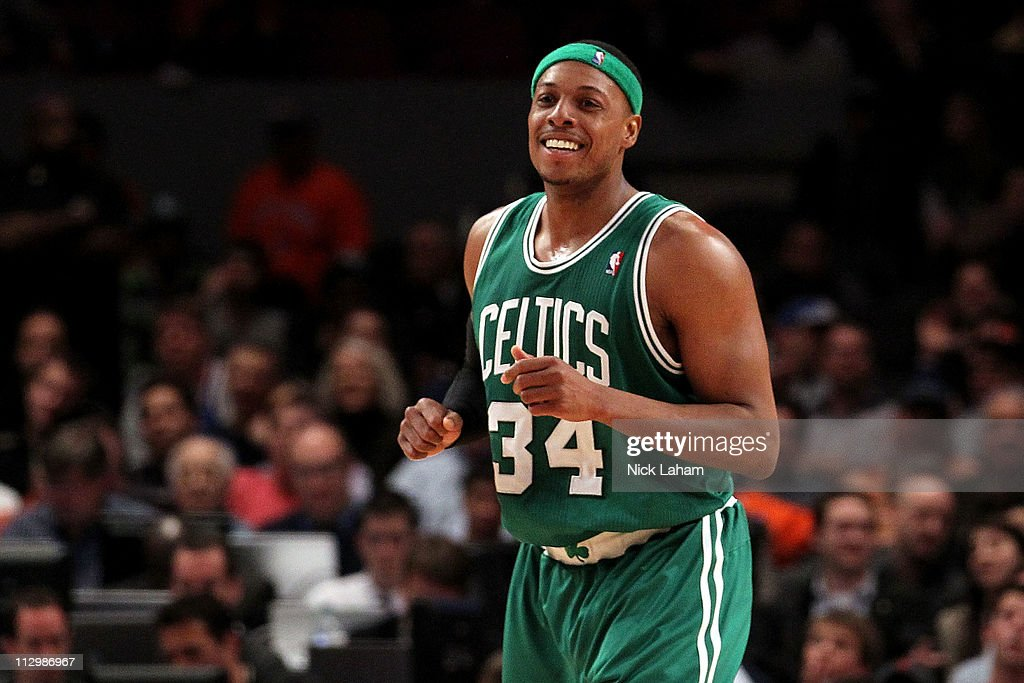 <a gi-track='captionPersonalityLinkClicked' href=/galleries/search?phrase=Paul+Pierce&family=editorial&specificpeople=201562 ng-click='$event.stopPropagation()'>Paul Pierce</a> #34 of the Boston Celtics reacts against the New York Knicks in Game Three of the Eastern Conference Quarterfinals in the 2011 NBA Playoffs on April 22, 2011 at Madison Square Garden in New York City.