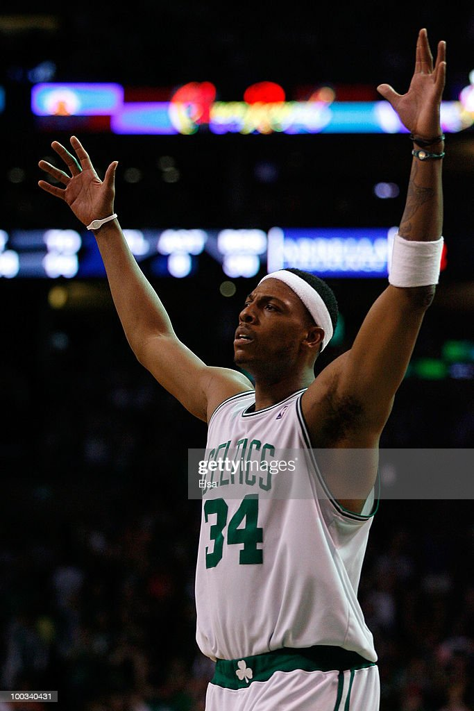 <a gi-track='captionPersonalityLinkClicked' href=/galleries/search?phrase=Paul+Pierce&family=editorial&specificpeople=201562 ng-click='$event.stopPropagation()'>Paul Pierce</a> #34 of the Boston Celtics reacts against the Orlando Magic at TD Banknorth Garden in Game Three of the Eastern Conference Finals during the 2010 NBA Playoffs on May 22, 2010 in Boston, Massachusetts.