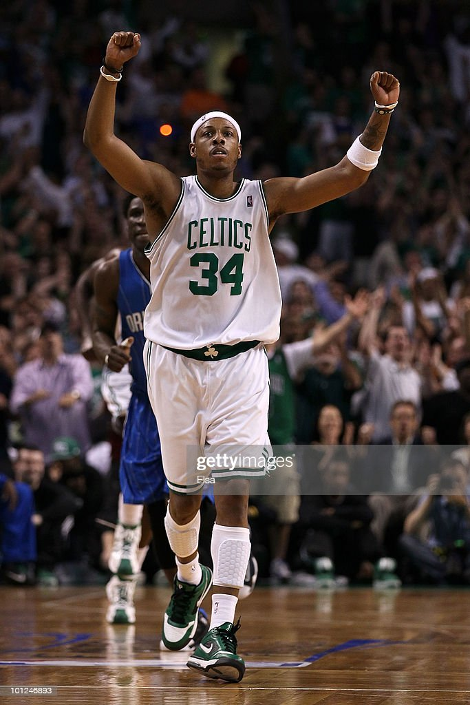 Paul Pierce #34 of the Boston Celtics reacts against the Orlando Magic in Game Six of the Eastern Conference Finals during the 2010 NBA Playoffs at TD Garden on May 28, 2010 in Boston, Massachusetts.