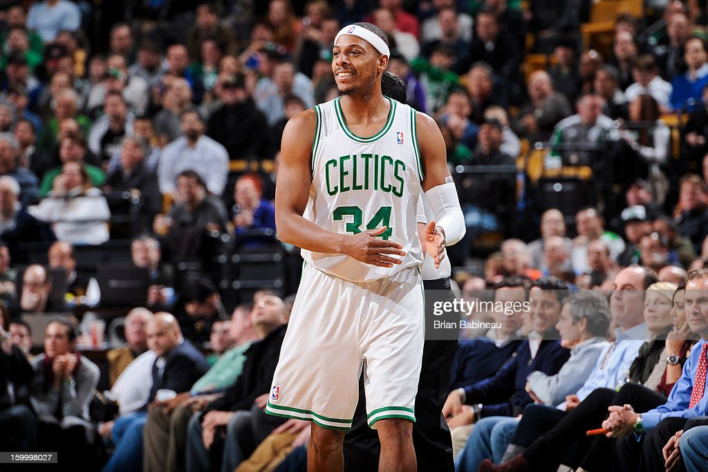 Paul Pierce #34 of the Boston Celtics reacts during a game against the New York Knicks on January 24, 2013 at the TD Garden in Boston, Massachusetts.