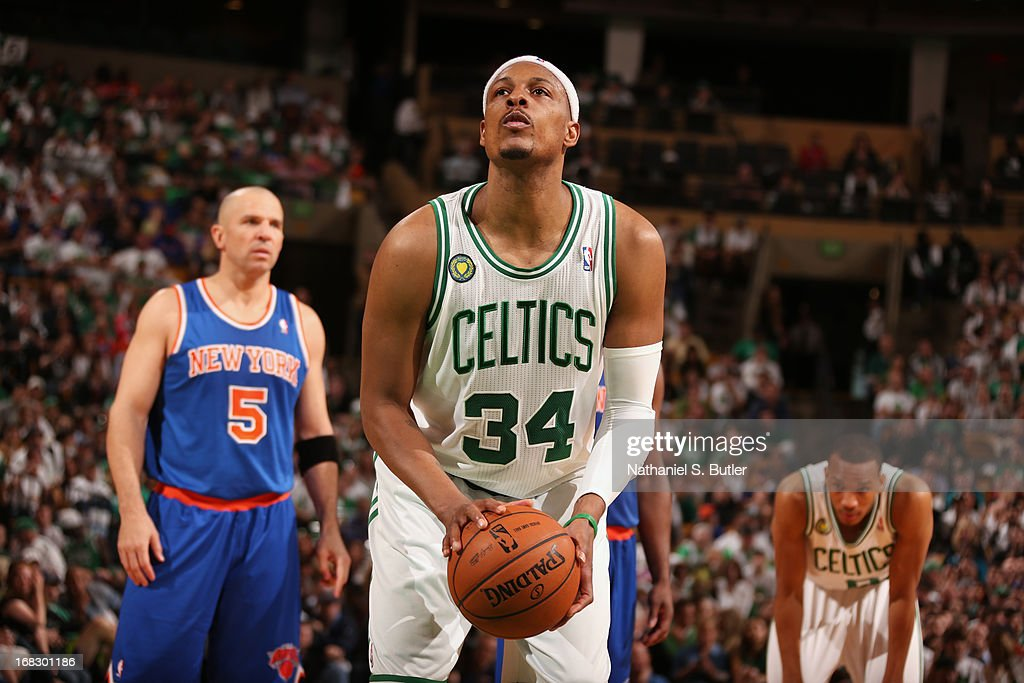 <a gi-track='captionPersonalityLinkClicked' href=/galleries/search?phrase=Paul+Pierce&family=editorial&specificpeople=201562 ng-click='$event.stopPropagation()'>Paul Pierce</a> #34 of the Boston Celtics shoots a free throw against the New York Knicks in Game Four of the Eastern Conference Quarterfinals during the 2013 NBA Playoffs on April 28, 2013 at the TD Garden in Boston.