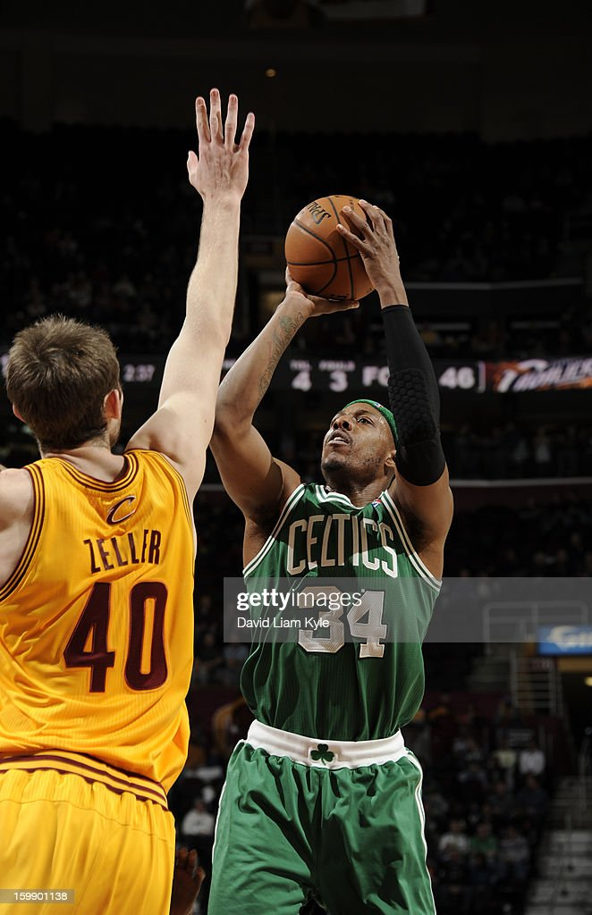 Paul Pierce #34 of the Boston Celtics shoots a jumper against Tyler Zeller #40 of the Cleveland Cavaliers at The Quicken Loans Arena on January 22, 2013 in Cleveland, Ohio.