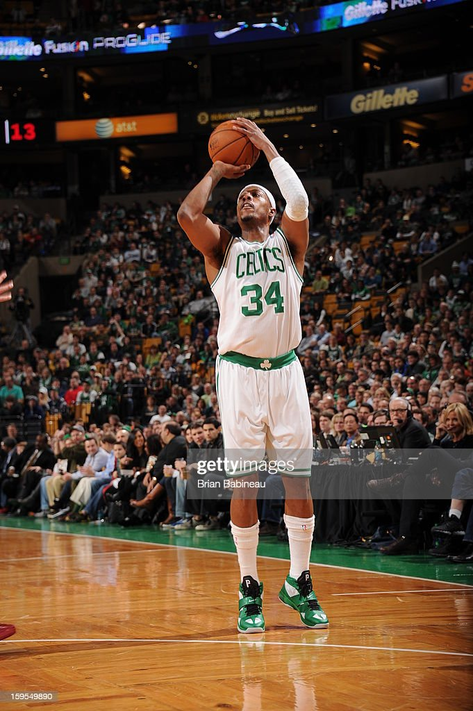 <a gi-track='captionPersonalityLinkClicked' href=/galleries/search?phrase=Paul+Pierce&family=editorial&specificpeople=201562 ng-click='$event.stopPropagation()'>Paul Pierce</a> #34 of the Boston Celtics shoots a three pointer against the Houston Rockets on January 11, 2013 at the TD Garden in Boston, Massachusetts.