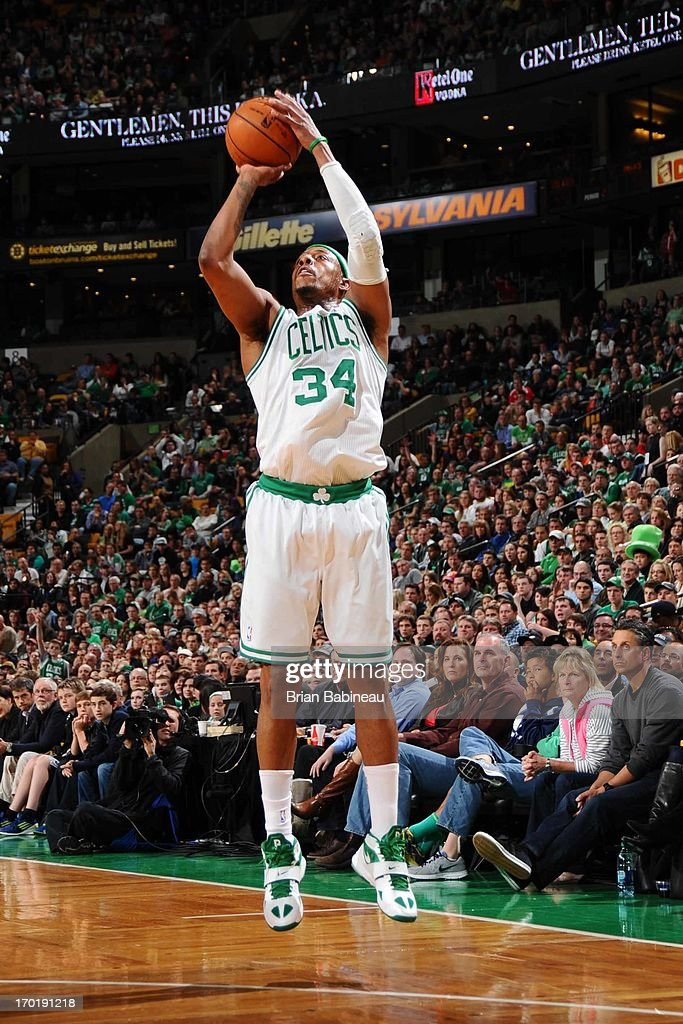 <a gi-track='captionPersonalityLinkClicked' href=/galleries/search?phrase=Paul+Pierce&family=editorial&specificpeople=201562 ng-click='$event.stopPropagation()'>Paul Pierce</a> #34 of the Boston Celtics shoots a three pointer against the Atlanta Hawks on March 29, 2013 at the TD Garden in Boston, Massachusetts.