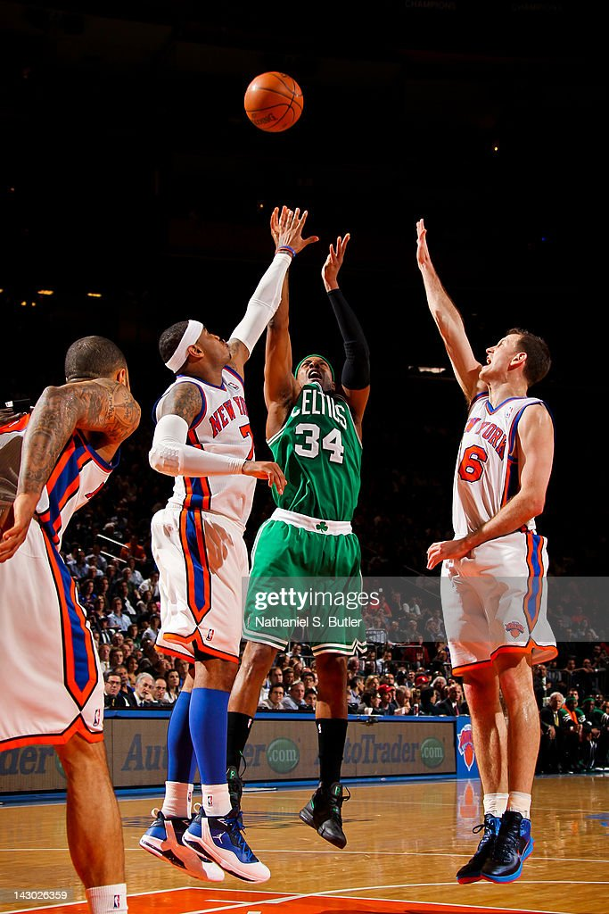 <a gi-track='captionPersonalityLinkClicked' href=/galleries/search?phrase=Paul+Pierce&family=editorial&specificpeople=201562 ng-click='$event.stopPropagation()'>Paul Pierce</a> #34 of the Boston Celtics shoots against <a gi-track='captionPersonalityLinkClicked' href=/galleries/search?phrase=Carmelo+Anthony&family=editorial&specificpeople=201494 ng-click='$event.stopPropagation()'>Carmelo Anthony</a> #7 and <a gi-track='captionPersonalityLinkClicked' href=/galleries/search?phrase=Steve+Novak&family=editorial&specificpeople=693015 ng-click='$event.stopPropagation()'>Steve Novak</a> #16 of the New York Knicks on April 17, 2012 at Madison Square Garden in New York City.