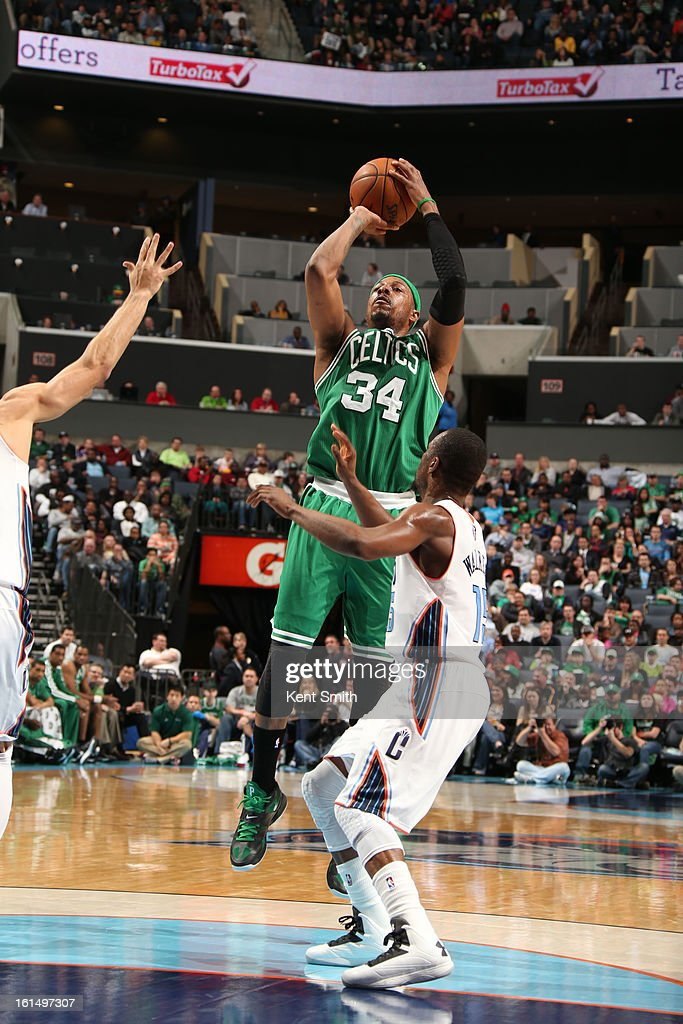<a gi-track='captionPersonalityLinkClicked' href=/galleries/search?phrase=Paul+Pierce&family=editorial&specificpeople=201562 ng-click='$event.stopPropagation()'>Paul Pierce</a> #34 of the Boston Celtics shoots against <a gi-track='captionPersonalityLinkClicked' href=/galleries/search?phrase=Kemba+Walker&family=editorial&specificpeople=5042442 ng-click='$event.stopPropagation()'>Kemba Walker</a> #15 of the Charlotte Bobcats at the Time Warner Cable Arena on February 11, 2013 in Charlotte, North Carolina.