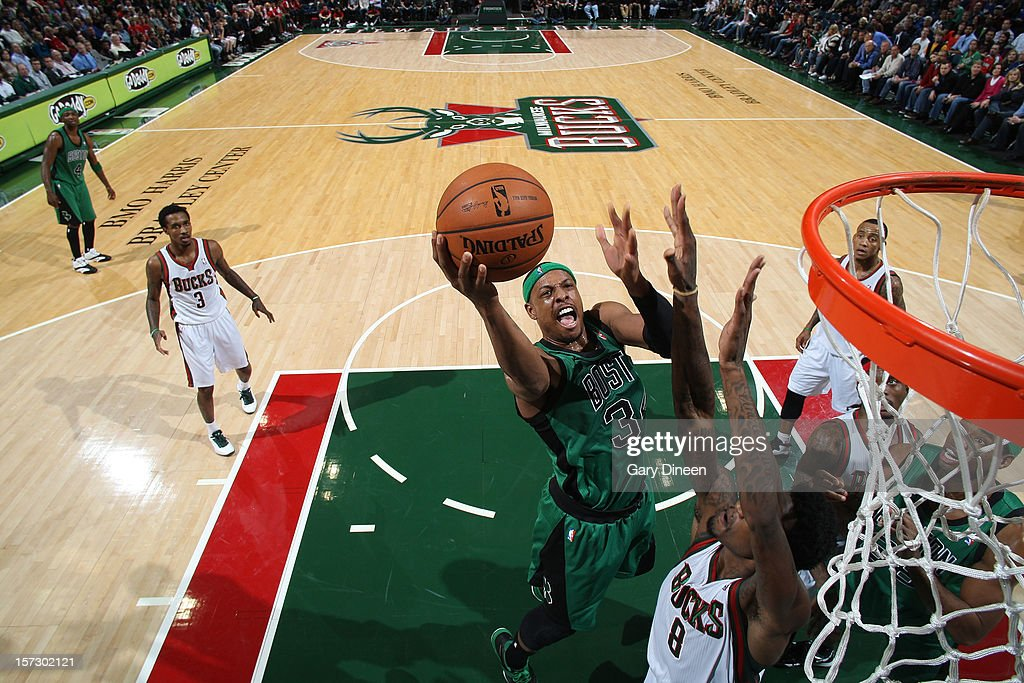 <a gi-track='captionPersonalityLinkClicked' href=/galleries/search?phrase=Paul+Pierce&family=editorial&specificpeople=201562 ng-click='$event.stopPropagation()'>Paul Pierce</a> #34 of the Boston Celtics shoots against Larry Sanders #8 of the Milwaukee Bucks during the NBA game on December 1, 2012 at the BMO Harris Bradley Center in Milwaukee, Wisconsin.