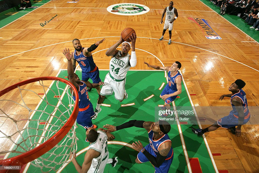 <a gi-track='captionPersonalityLinkClicked' href=/galleries/search?phrase=Paul+Pierce&family=editorial&specificpeople=201562 ng-click='$event.stopPropagation()'>Paul Pierce</a> #34 of the Boston Celtics shoots against the New York Knicks in Game Four of the Eastern Conference Quarterfinals during the 2013 NBA Playoffs on April 28, 2013 at the TD Garden in Boston.