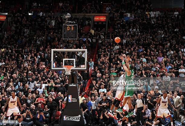 Paul Pierce of the Boston Celtics shoots the game winning shot against the Miami Heat in Game Three of the Eastern Conference Quarterfinals during...