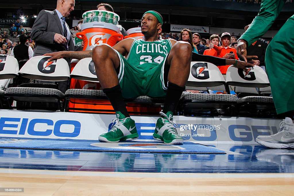 <a gi-track='captionPersonalityLinkClicked' href=/galleries/search?phrase=Paul+Pierce&family=editorial&specificpeople=201562 ng-click='$event.stopPropagation()'>Paul Pierce</a> #34 of the Boston Celtics sits on the bench during the game against the Dallas Mavericks on March 22, 2013 at the American Airlines Center in Dallas, Texas.