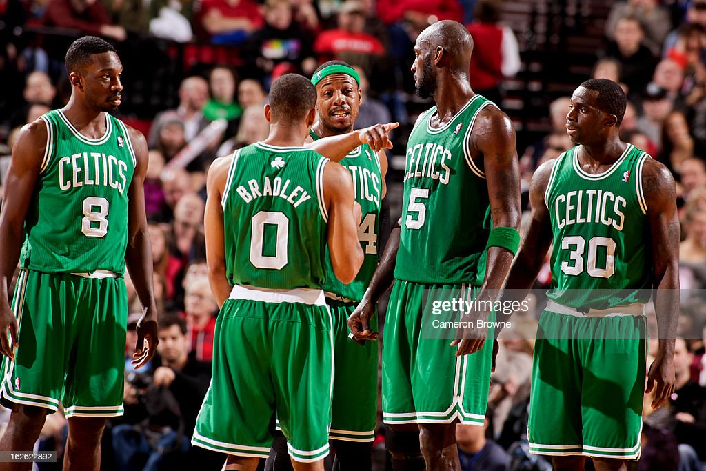 Paul Pierce #34 of the Boston Celtics speaks to teammates Jeff Green #8, Avery Bradley #0, Kevin Garnett #5 and Brandon Bass #30 during a game against the Portland Trail Blazers on February 24, 2013 at the Rose Garden Arena in Portland, Oregon.