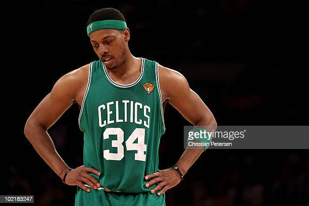 Paul Pierce of the Boston Celtics stands on the court in the first half against the Los Angeles Lakers in Game Seven of the 2010 NBA Finals at...