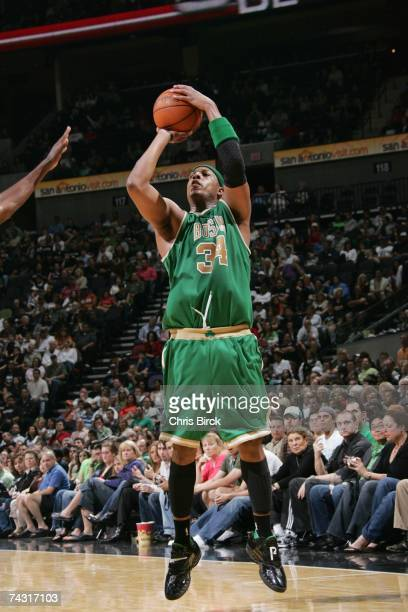 Paul Pierce of the Boston Celtics takes a jump shot against the San Antonio Spurs at ATT Center on March 17 2007 in San Antonio Texas The Celtics won...