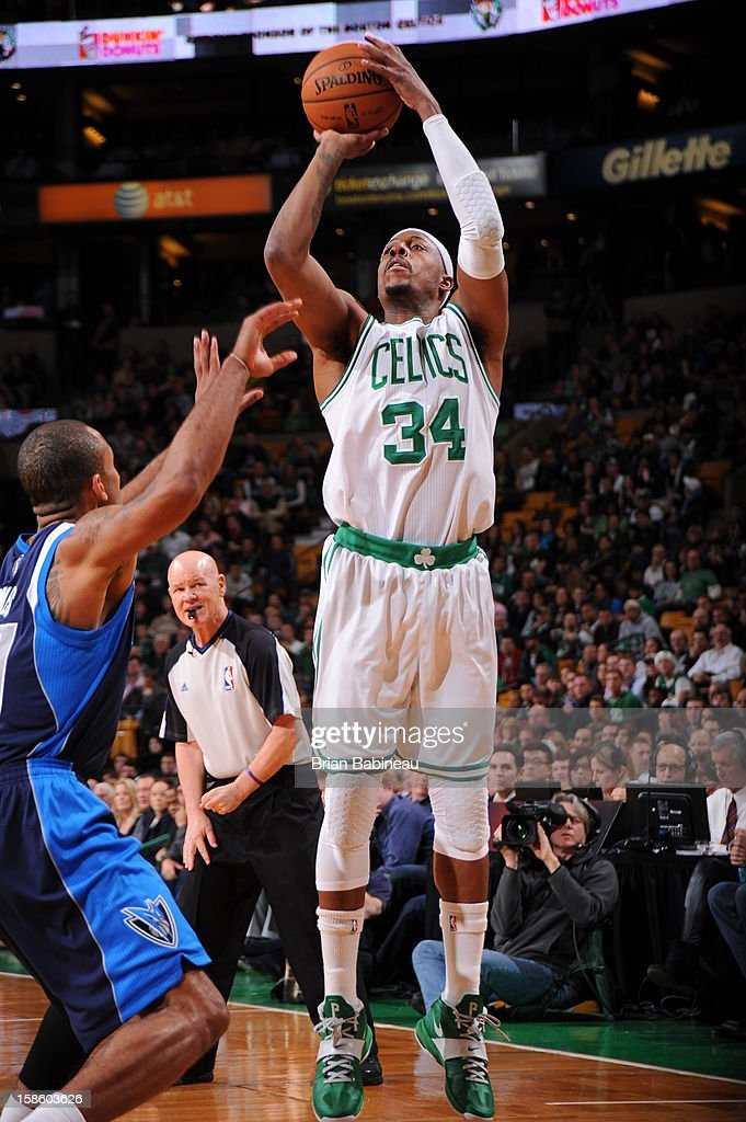 Paul Pierce #34 of the Boston Celtics takes a shot against the Dallas Mavericks on December 12, 2012 at the TD Garden in Boston, Massachusetts.
