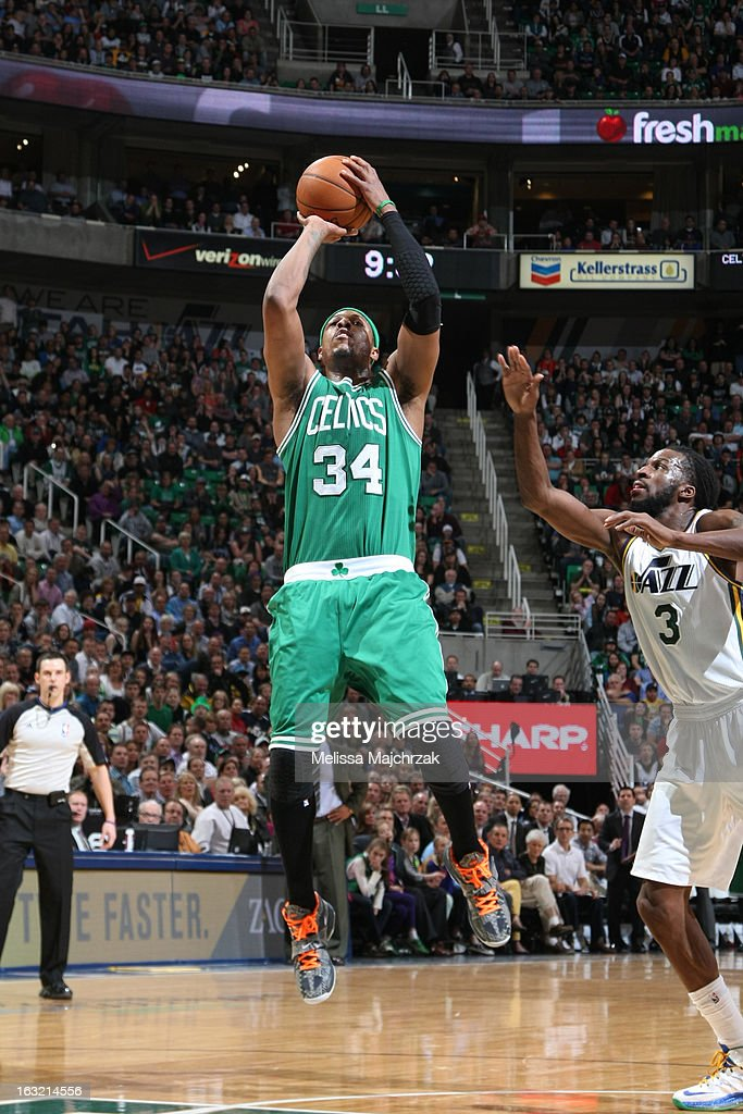 <a gi-track='captionPersonalityLinkClicked' href=/galleries/search?phrase=Paul+Pierce&family=editorial&specificpeople=201562 ng-click='$event.stopPropagation()'>Paul Pierce</a> #34 of the Boston Celtics takes a shot against the Utah Jazz at Energy Solutions Arena on February 25, 2013 in Salt Lake City, Utah.