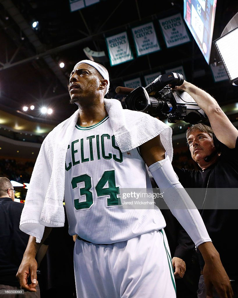 <a gi-track='captionPersonalityLinkClicked' href=/galleries/search?phrase=Paul+Pierce&family=editorial&specificpeople=201562 ng-click='$event.stopPropagation()'>Paul Pierce</a> #34 of the Boston Celtics walks off of the court after their double overtime 100-98 win against the Miami Heat on January 27, 2013 at TD Garden in Boston, Massachusetts.