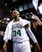 Paul Pierce of the Boston Celtics walks off of the court after their double overtime 10098 win against the Miami Heat on January 27 2013 at TD Garden...