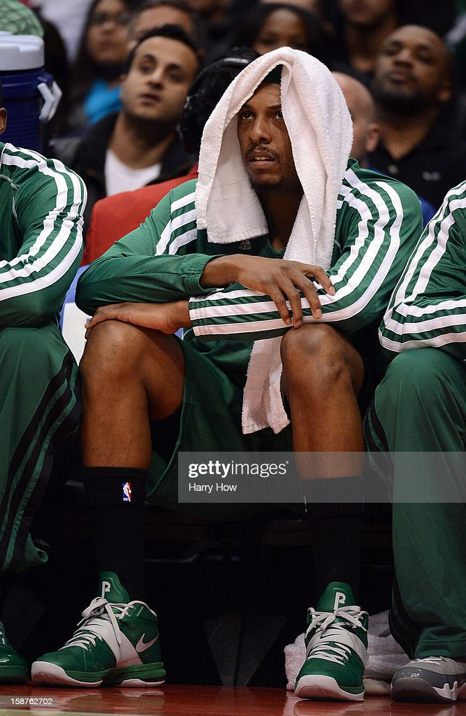 Paul Pierce #34 of the Boston Celtics watches play from the bench during the game against the Los Angeles Clippers at Staples Center on December 27, 2012 in Los Angeles, California.