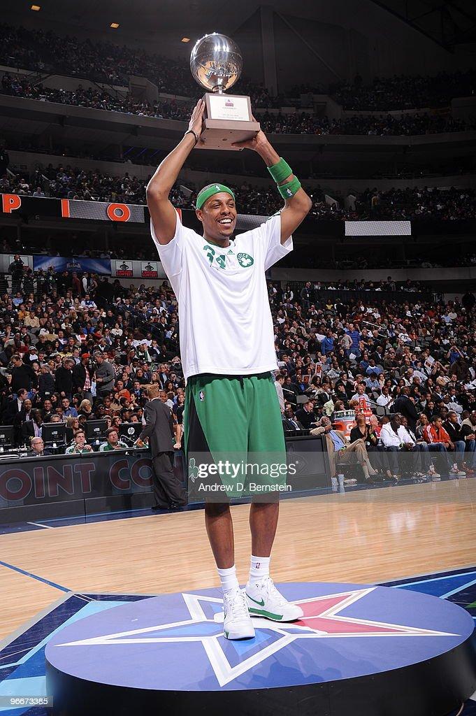 Paul Pierce of the Boston Celtics wins the 2010 Foot Locker ThreePoint Contest on AllStar Saturday Night part of 2010 NBA AllStar Weekend at American...