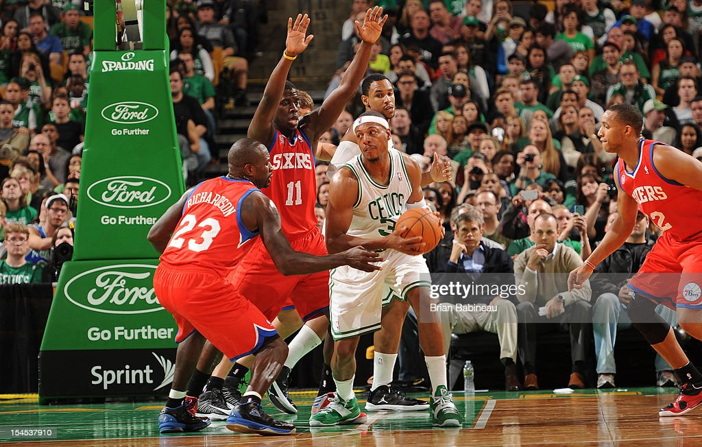 Paul Pierce #34 of the Boston Celtics with the ball against the Philadelphia 76ers on October 21, 2012 at the TD Garden in Boston, Massachusetts.