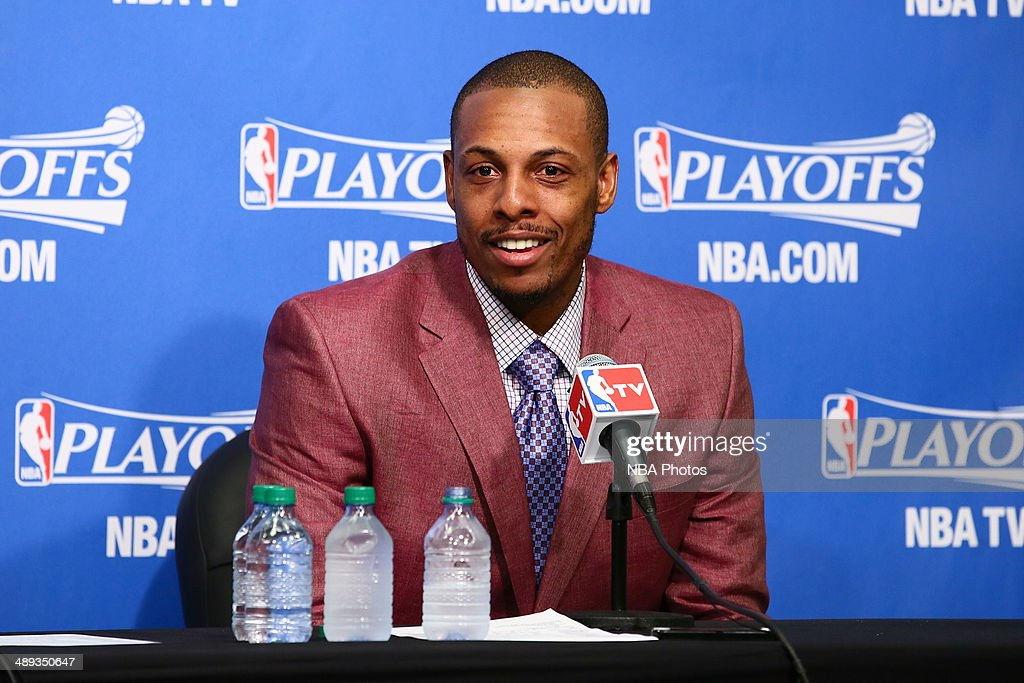 <a gi-track='captionPersonalityLinkClicked' href=/galleries/search?phrase=Paul+Pierce&family=editorial&specificpeople=201562 ng-click='$event.stopPropagation()'>Paul Pierce</a> #34 of the Brooklyn Nets addresses the media after the game against the Miami Heat during Game Three of the Eastern Conference Semifinals on May 10, 2014 at Barclays Center in Brooklyn.