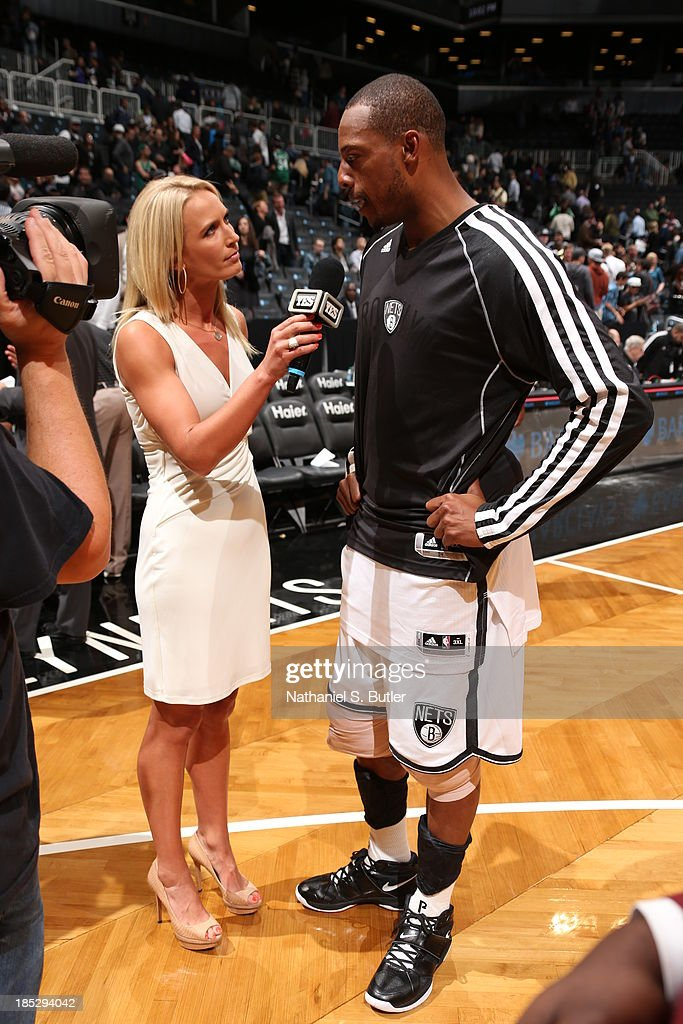 <a gi-track='captionPersonalityLinkClicked' href=/galleries/search?phrase=Paul+Pierce&family=editorial&specificpeople=201562 ng-click='$event.stopPropagation()'>Paul Pierce</a> #34 of the Brooklyn Nets answers questions after the game against the Boston Celtics during a preseason game at the Barclays Center on October 15, 2013 in the Brooklyn borough of New York City.