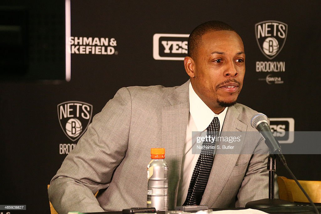 <a gi-track='captionPersonalityLinkClicked' href=/galleries/search?phrase=Paul+Pierce&family=editorial&specificpeople=201562 ng-click='$event.stopPropagation()'>Paul Pierce</a> #34 of the Brooklyn Nets answers questions after the game against the Boston Celtics during a game at TD Garden in Boston.