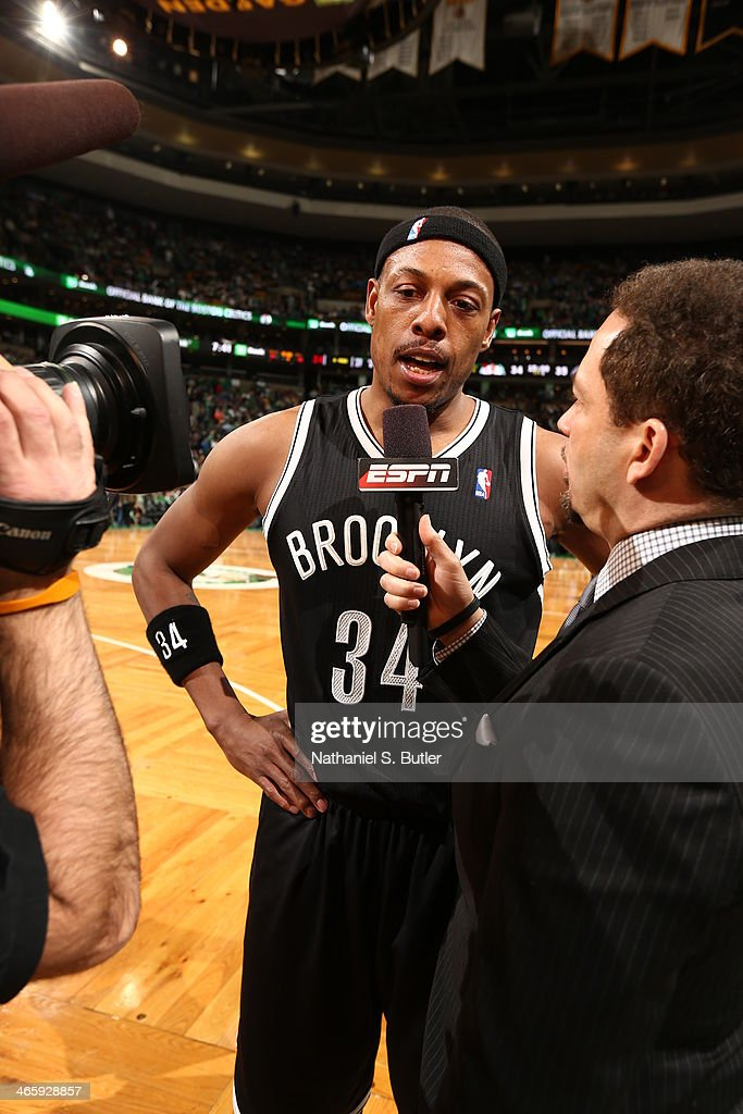 Paul Pierce #34 of the Brooklyn Nets answers questions after the game against the Boston Celtics at TD Garden in Boston.