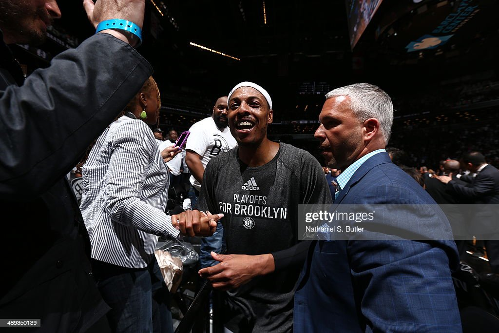 <a gi-track='captionPersonalityLinkClicked' href=/galleries/search?phrase=Paul+Pierce&family=editorial&specificpeople=201562 ng-click='$event.stopPropagation()'>Paul Pierce</a> #34 of the Brooklyn Nets celebrates after the game against the Miami Heat during Game Three of the Eastern Conference Semifinals on May 10, 2014 at Barclays Center in Brooklyn.