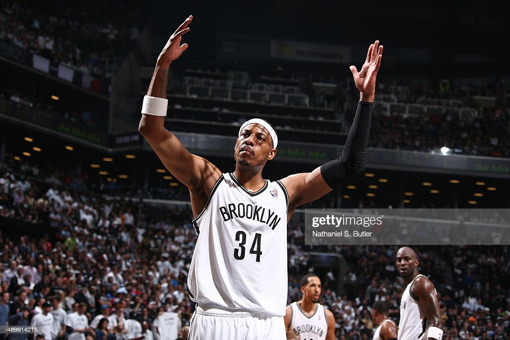 <a gi-track='captionPersonalityLinkClicked' href=/galleries/search?phrase=Paul+Pierce&family=editorial&specificpeople=201562 ng-click='$event.stopPropagation()'>Paul Pierce</a> #34 of the Brooklyn Nets celebrates in Game Four of the Eastern Conference Semifinals against the Miami Heat during the 2014 NBA Playoffs on May 12, 2014 at Barclays Center in Brooklyn.